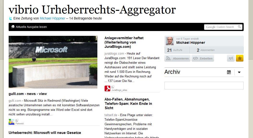 Der vibrio Urheberrechts-Aggregator als paper.li