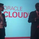 Im Presse-Briefing Oracle Entwicklungschef Thomas Kurian (r.)