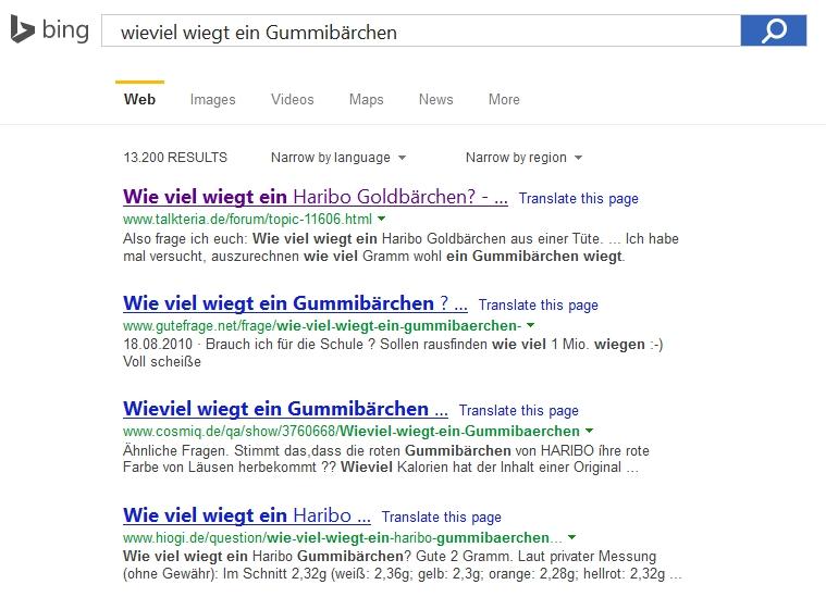 Bing antwortet auf Gummibärchen