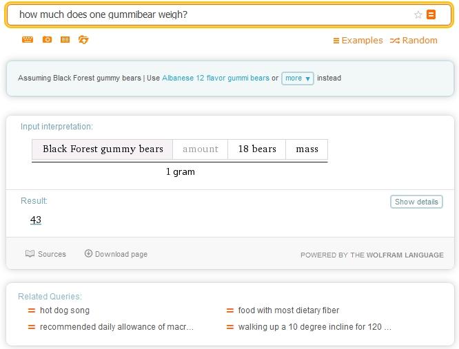 Wolfram Alphas Antwort
