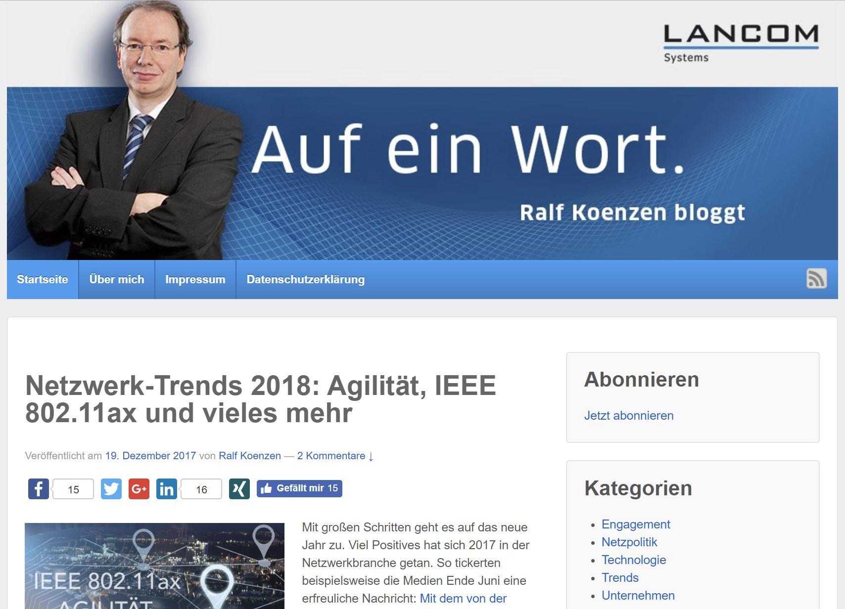 Corporate Blog Koenzen bloggt