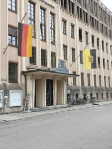 DIe Fassade des BR Haupthauses im LG-Stuttgart-Design