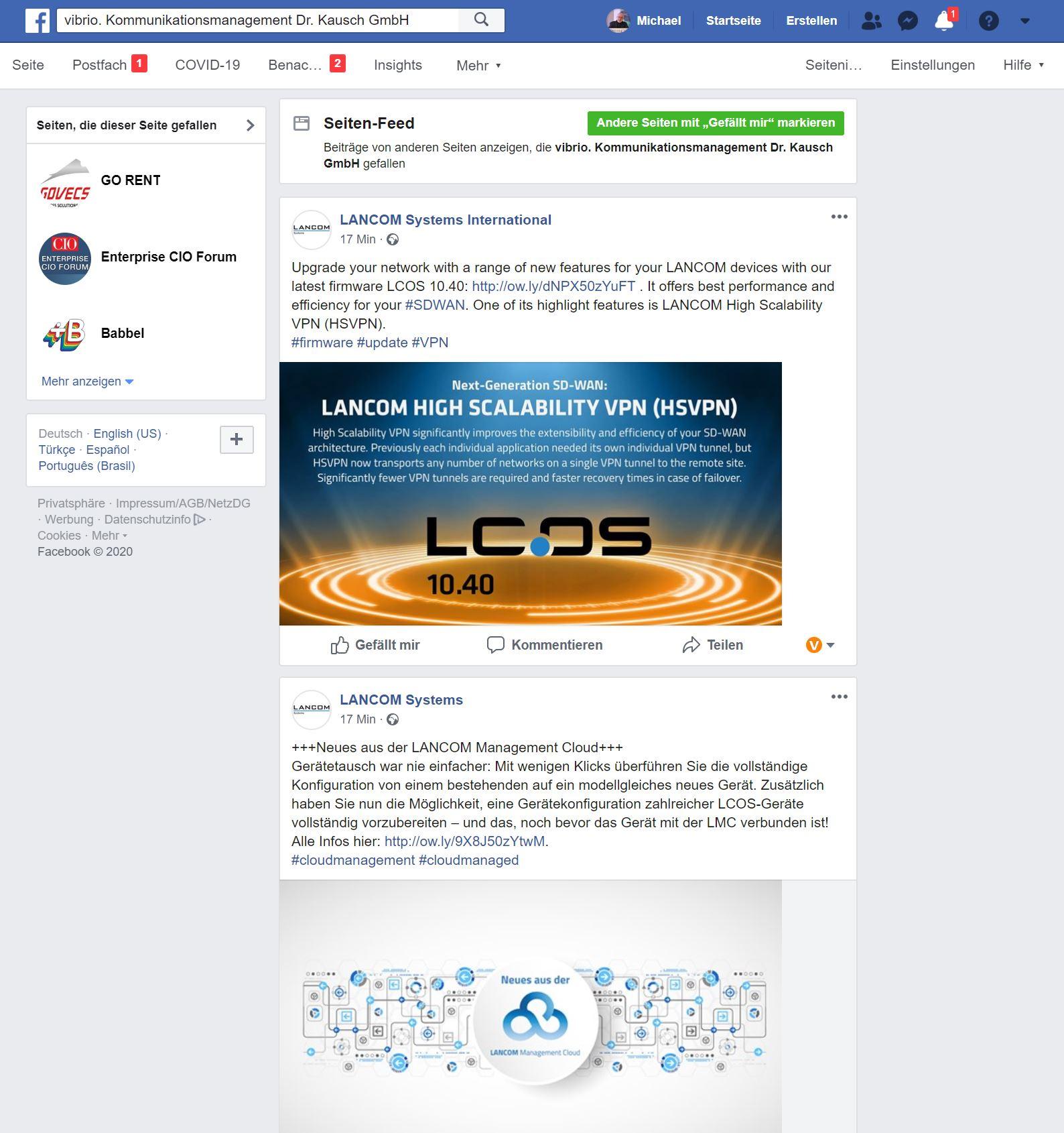 Facebook Seiten Feed vibrio